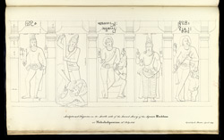 Five standing figures. 'Sculptured Figures on the South side of the Second story of the Square Ruddam at Mahabalipooram. 16th July 1816. Copied by J. Mustie April 1819.'